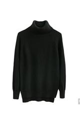 素芬 女裝毛衣秋冬新款純色包芯紗高領不規則下擺寬松針織衫SD340CTG1099