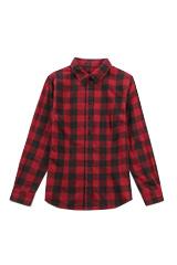 2018春季新款100%女士女款長袖襯衫全棉親膚舒適休閑Luyee鹿野良造(紅黑格 M)
