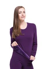 卡帝樂鱷魚女士保暖內衣套裝純色圓領加絨加厚雙層內衣女CW4003-1(紫色 L)